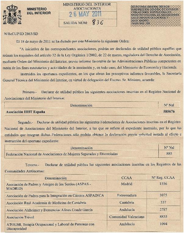 Documento oficial Utilidad Pública